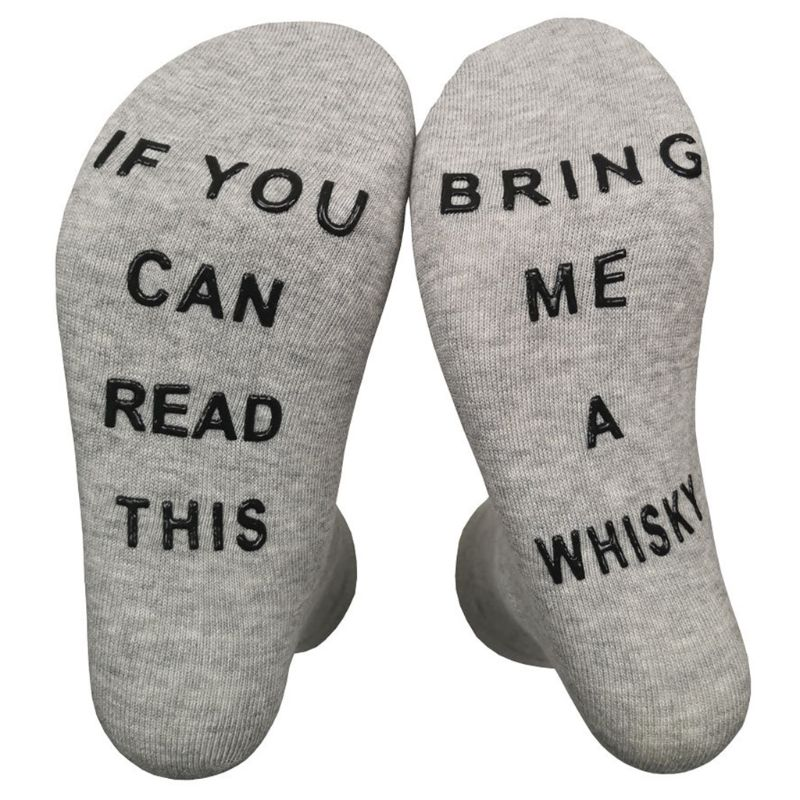 Women Men Novelty Funny Non-Skid Crew Socks If You Can Read This Whisky Hosiery