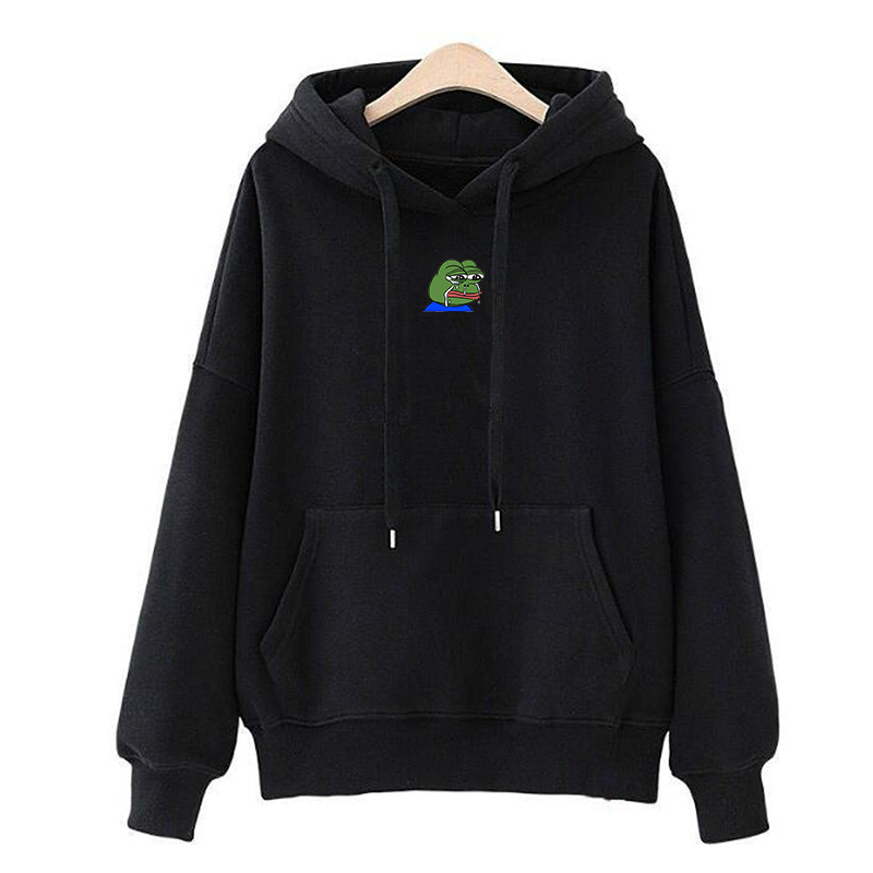 Sad Tearing Frog Print Hoodies Men/Women Long Sleeve Hooded Sweatshirts Harajuku Hip Hop Male Japanese Streetwear Hoody Pullover