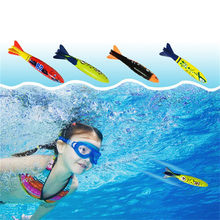 Funny Swimming Pool Diving Game Toys Torpedo Rocket Diving Buoys Loaded Throwing Toys Kid Diving Ring Water Toys Beach Sticks(China)