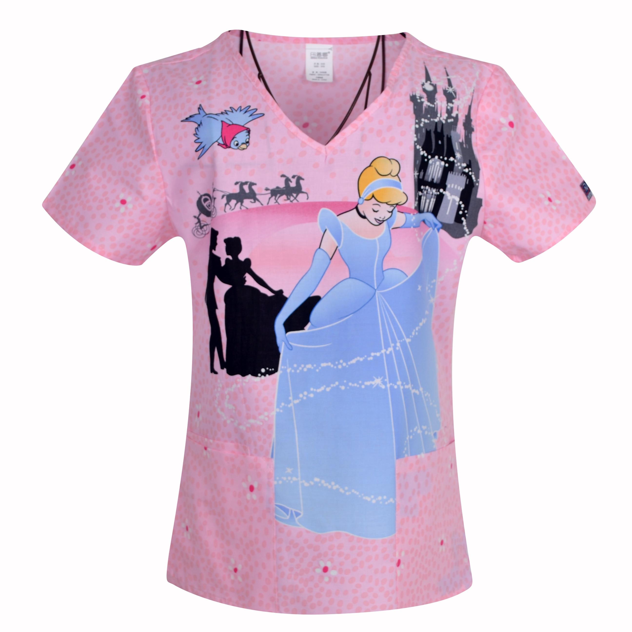Brand Heart Neck, Medical Scrub Tops Surgical Scrubs,scrub Uniform 100% Print Cotton Medical Uniforms Engineered Print Piece Cut