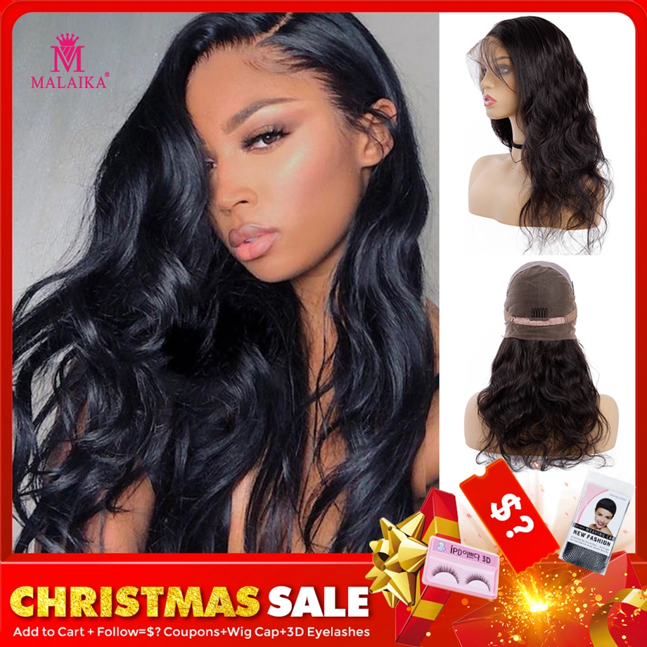 MALAIKA Christmas Body Wave Full Lace Human Hair Wigs For Women Pre Plucked Wig With Baby Hair 12-26 Inch Brazilian Hair