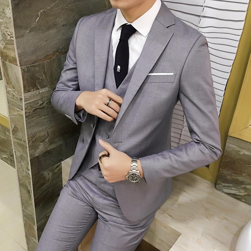 Traje ajustado para hombre, estilo coreano, novio, matrimonio, vestido Formal, ropa para padrino, traje de boda Casual para hombre, conjunto de tres piezas
