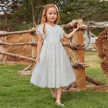 Белый цветок девушка платья для свадьбы милый A Line V вырез кружево девушки платье чай длина халат церемония Fille Ever Pretty EK00857WH +