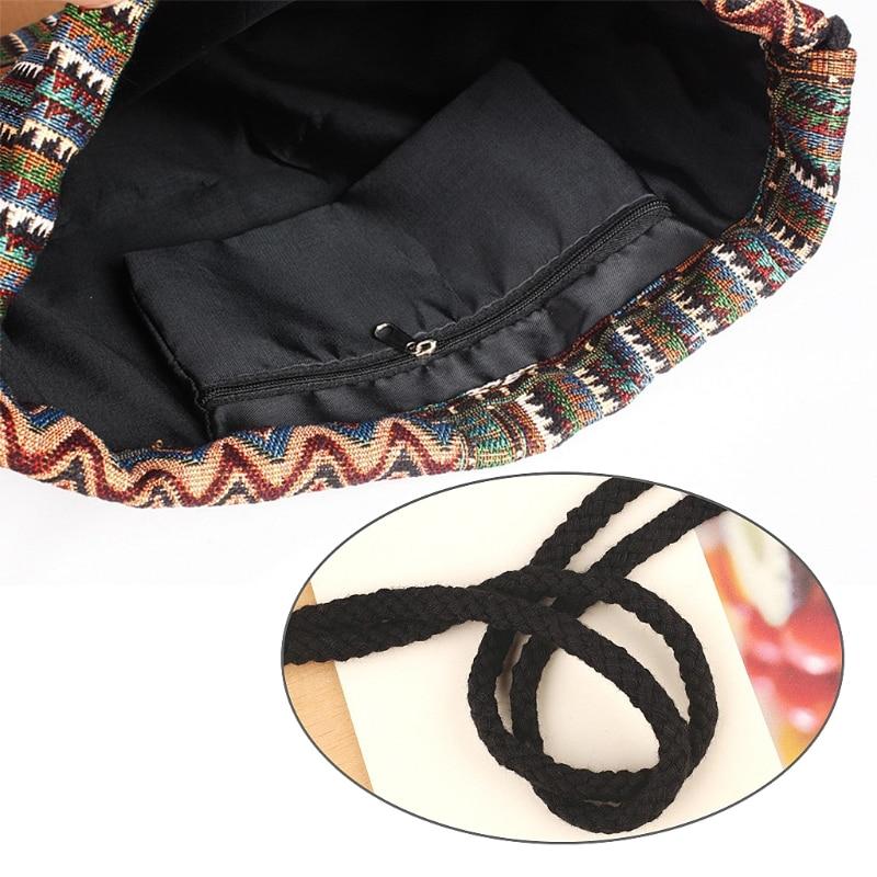 Unisex Shopping Backpacks Canvas Printing Bookbag Bags Drawstring Rucksack M5TE