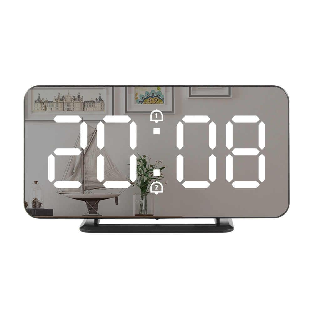 Nouveau horloge murale miroir réveil électronique température Snooze horloges USB veilleuse numérique LED montre décoration de la maison
