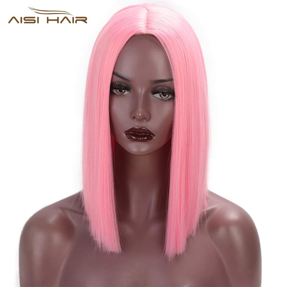 I's A Wig Pink Wig Synthetic Short Straight Hair Middle Part Shoulder Length Bob Wigs For Women Colorful Fashion Cosplay Hair