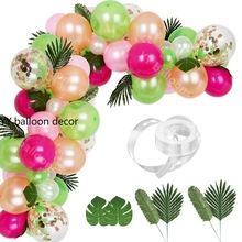 81pcs Tropical Party Balloons Arch Garlands Decorations Kit Hot Pink Gold White Balloons for Hawaiian Birthday Wedding