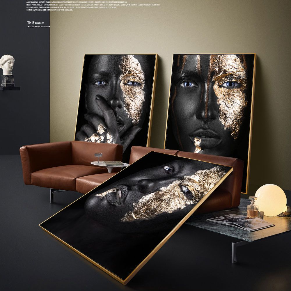 AHPAINTING African Art Black Gold Woman Poster Pretty Face Canvas Painting Wall Picture For Living Room Home Decor No Frame