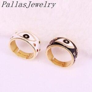 Image 2 - 10Pcs Goud Kleur enamel eye Verstelbare Ringen Voor Vrouwen Meisje Mode CZ Ring Partij Sieraden Trendy Gift Ring