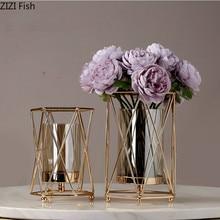 Творческий Nordic металлический Железный стеклянный геометрической формы золотистая ваза гостиная украшение Цветочная композиция Современное украшение для дома, вазы