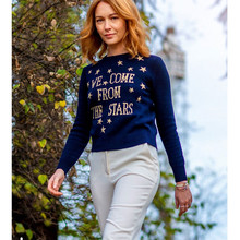 women knitted sweater Stars Embroidery letter sweater long sleeve women's jumper(China)
