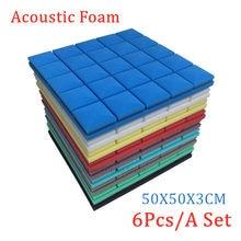 6 sztuk/zestaw 7 kolorów studyjna pianka akustyczna pianka dźwiękochłonna absorpcja dźwięku Panel leczenie dźwięk klin gąbka ochronna 50x50x3cm