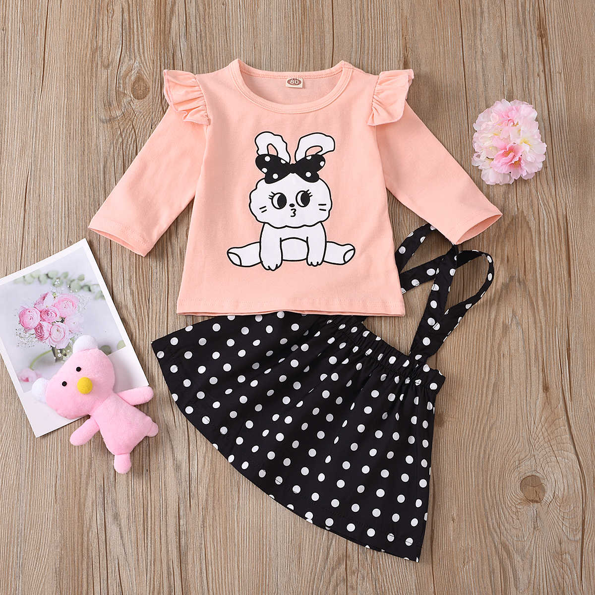 kids baby girls autumn long sleeve tops coat ruched cartoon animals dot strap dress toddler clothes children clothing sets 2pcs