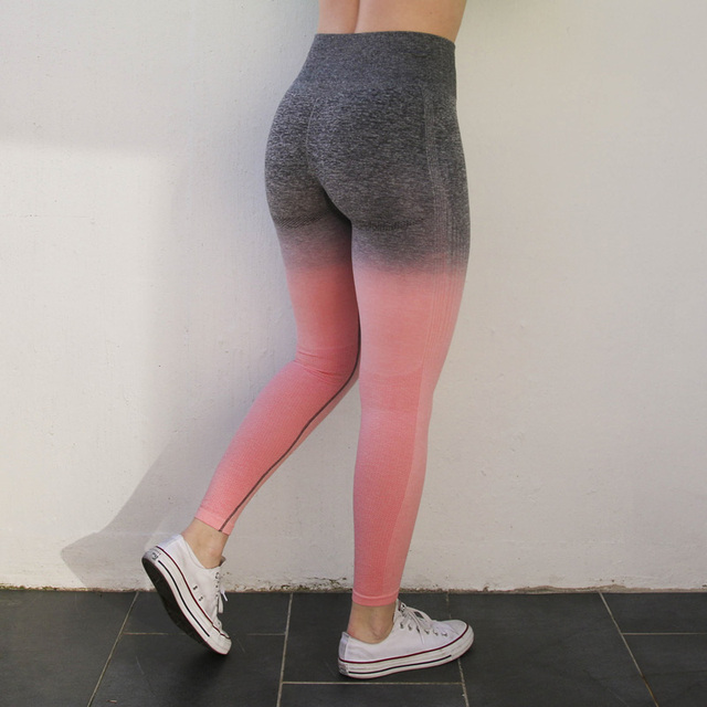 Nepoagym Women Ombre Seamless Leggings In TEAL High Waisted Yoga Pants Training Tights Gym Fitness Leggings 4