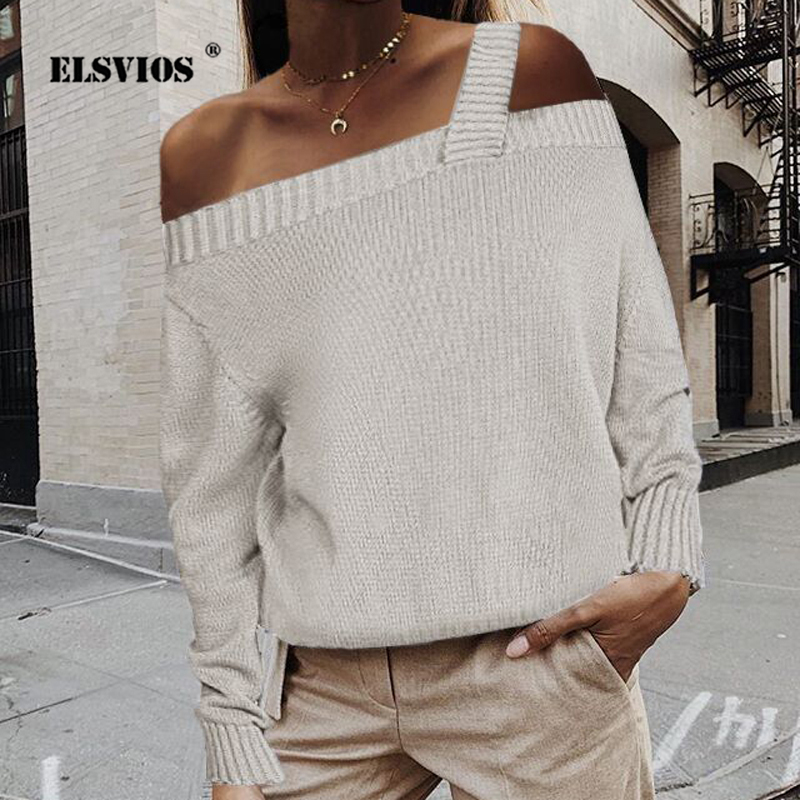 Elegant Women Sweaters And Pullovers 2019 Autumn Off Shoulder Straps Knitted Sweater Casual Long Sleeve Ladies Tops Dropshipping