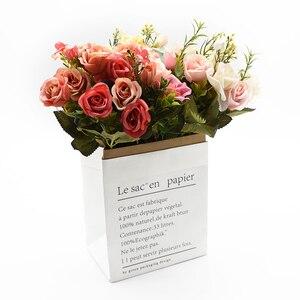 Image 5 - 13 kafaları ipek gül gelin buketi düğün noel ev dekorasyon için vazo süs saksı yapay çiçekler scrapbooking