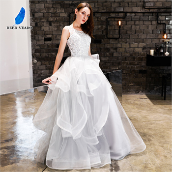 DEERVEADO Sexy Open Back Long Evening Dress Lace Robe De Soiree Formal Women Occasion Party Dresses Gown YS435 - discount item  46% OFF Special Occasion Dresses