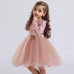Vestidos para meninas vestido de manga longa para crianças rendas princesa festa crianças vestido adolescente escola uso diário roupas de bebê menina