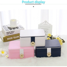 Exquisite Double Jewellery Box Portable Multi-function Leather Storage Ring Necklace Watch Earrings Ladies Jewelry