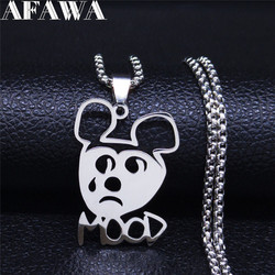 AFAWA Sad mood Silver Color Stainless Steel Chain Necklace for Women Silver Color Necklaces Jewelry collares N4204S03