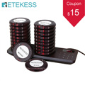 Retekess TD163 Restaurant Pager Calling Paging System 20 Coaster Buzzers Dual Charging Base For Cafe Church Clinic Hospital