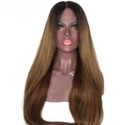 1B 30 kolor syntetyczna koronka przodu prosto Ombre brązowy do popiołu blond żaroodporne wysokiej temperatury Glueless peruka