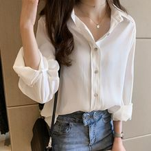 Women Fashion Loose Single-breasted Long Sleeve Lapel Casual Blouse Simple Solid Color Cotton Blend Shirt color block pocket hemming lapel long sleeve slimming stylish cotton blend blazer for men