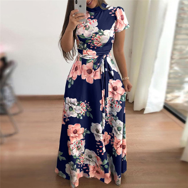 Plus size women's summer long super long dress 2020 casual long sleeve flower print dress casual high collar bandage Vestidos 6