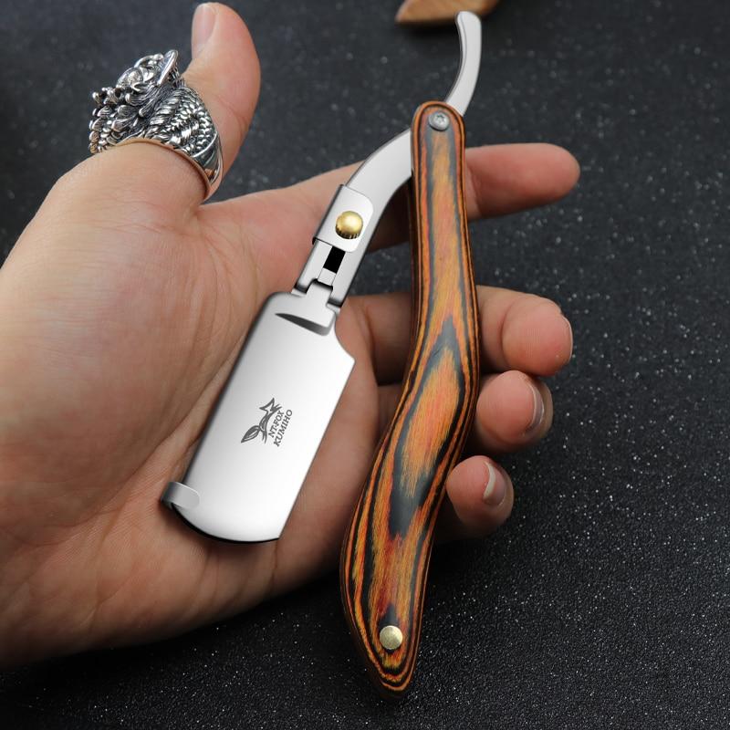 Manual Razors Redwood Handle Shaver Men's Shaving Razor Professional Barber Hair Cut Razor Change Blade Type Shaving Knife