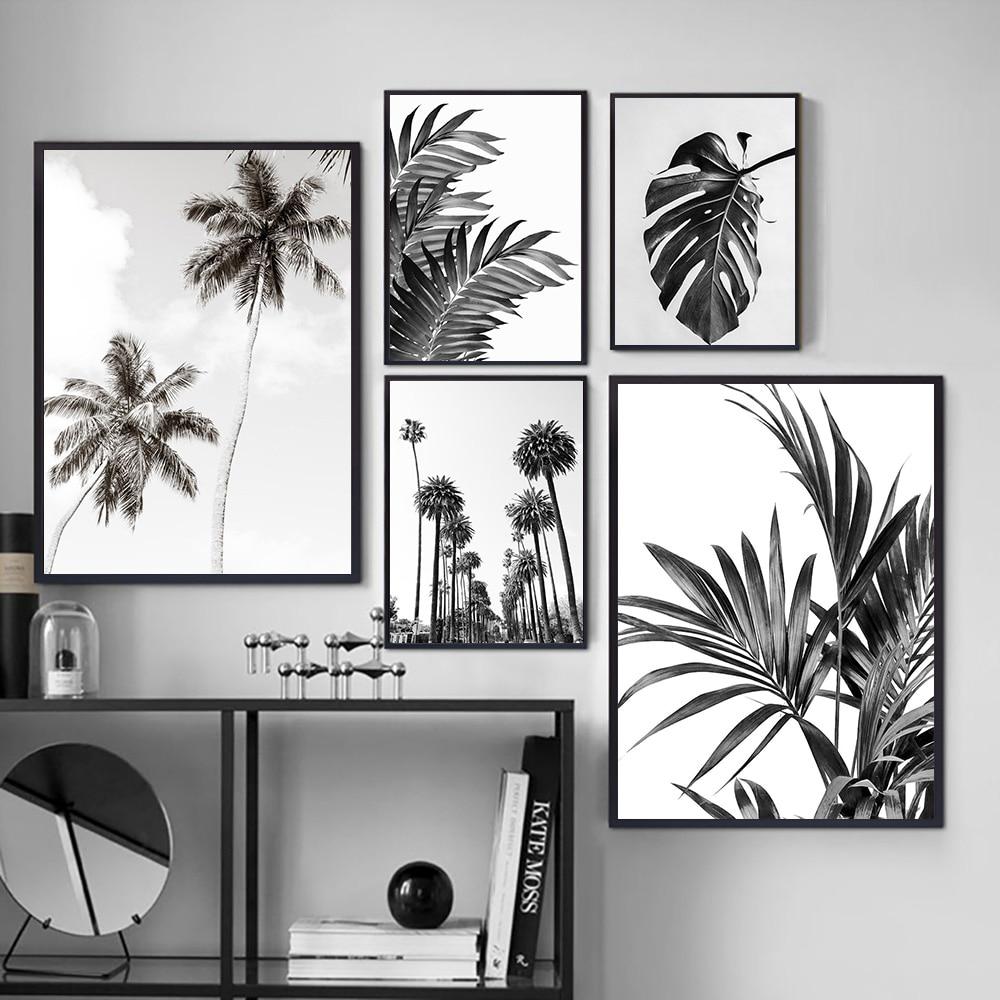 Плакат с листьями, черно-белый принт с пляжным деревом, Настенная картина на холсте, простая цитата, украшение комнаты монстеры, картина