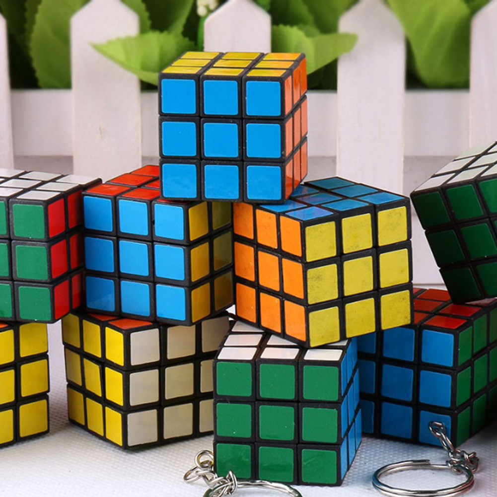 Mini Funny Magic Cube Game Puzzle Keychains Kids Reduced Pressure Pendant Key Rings Silver Plated Key Accessories