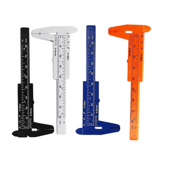 1Pc  Black White Blue Orange Vernier Caliper 80mm 3 In Metric Double Scale Plastic Ruler Measure Tool