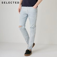 SELECTED Men's Summer Slim Fit Ripped Cotton Jeans C|419232517(China)