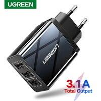 UGREEN-cargador USB rápido para iPhone Xs X 8 7, cargador de pared para Samsung, Xiaomi, Huawei, Adaptador europeo