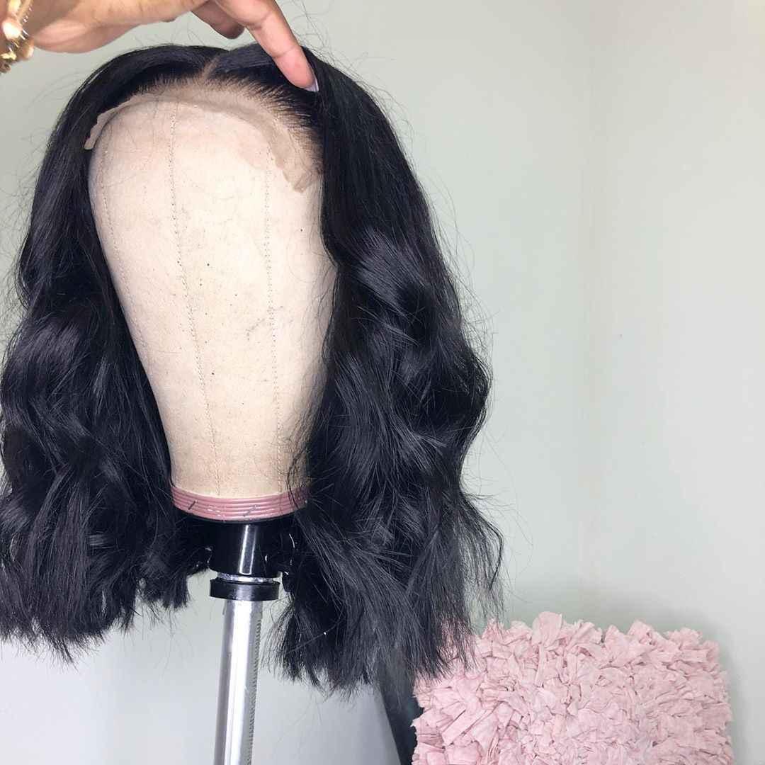 Предварительно выщипанные кружевные передние человеческие волосы парики для черных женщин бесклеевые бразильские волосы Remy Волнистые Короткие парики с детскими волосами 13x4 180%