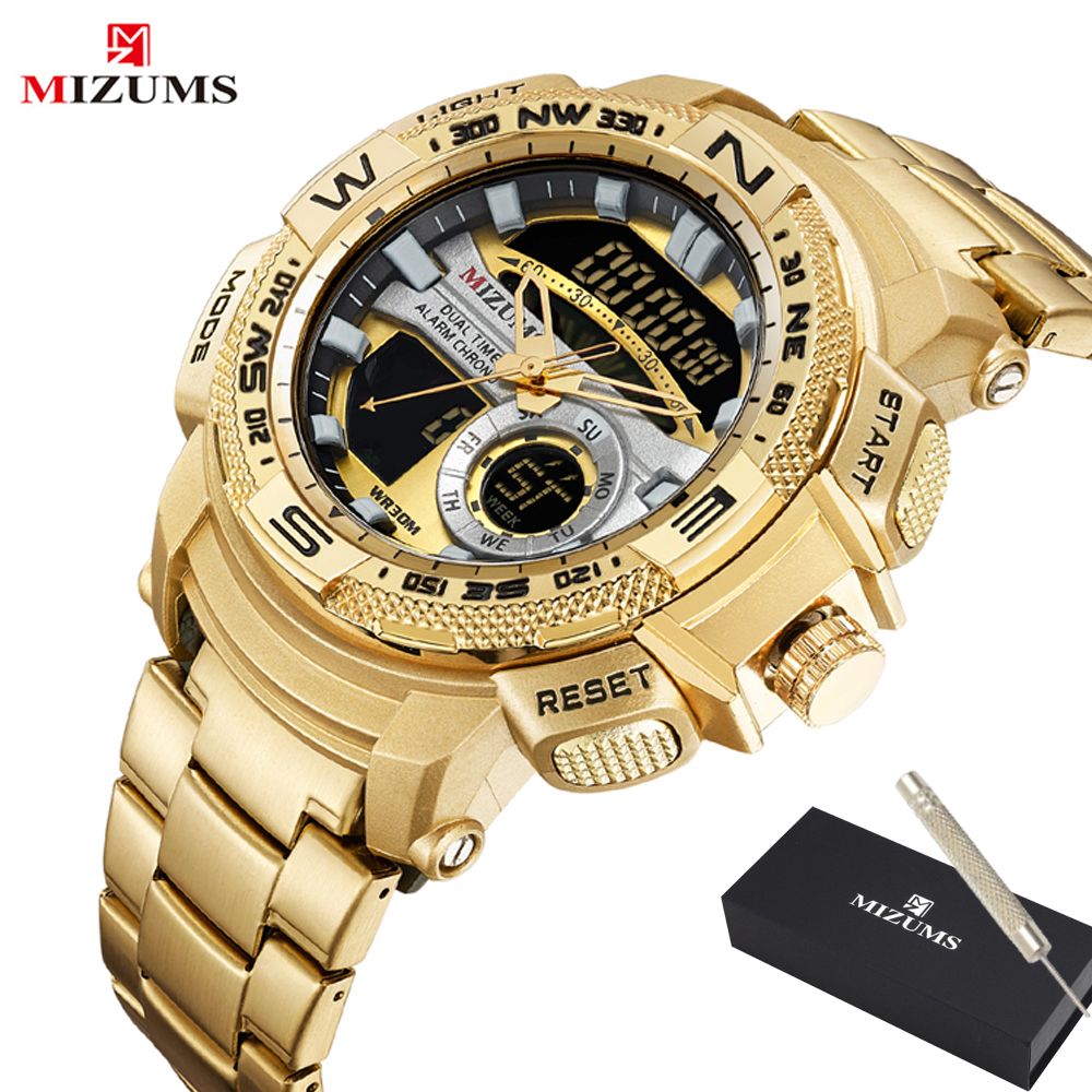 MIZUMS Military Wrist Watches LED Digital Sport Watch Men Gold Stainless Steel Dual Display Quartz Clock Man Relogio Masculino