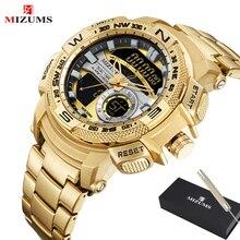 MIZUMS Military Wrist Watches LED Digital Sport Watch Men Gold Stainless Steel Dual Display Quartz Clock Man Relogio Masculino