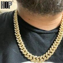 Collar de cadena cubana con diamantes de imitación para hombre, joyería de rapero, Miami Curb de 13MM, dorado con diamantes de imitación incrustados AAA