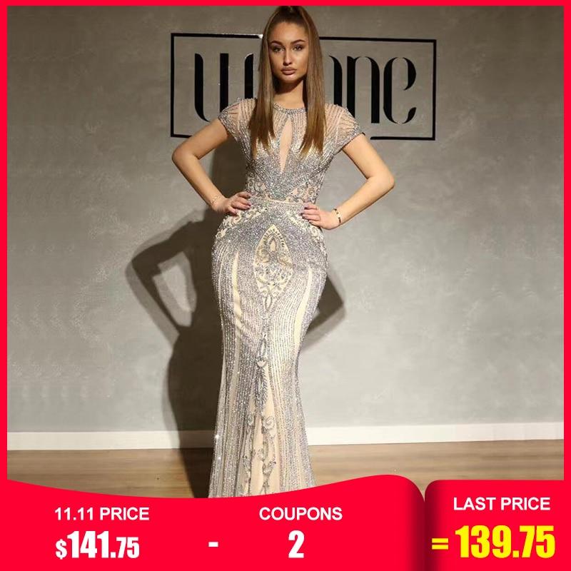 Em estoque azul marinho sem mangas vestidos de noite luxo diamante completo sexy vestidos de noite 2019 sereno hill plus size la60742