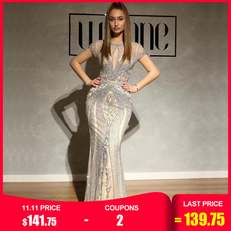 IN STOCK Navy Blue Sleeveless Luxury Evening Dresses Full Diamond Sexy Evening Gowns 2019 Serene Hill Plus Size LA60742