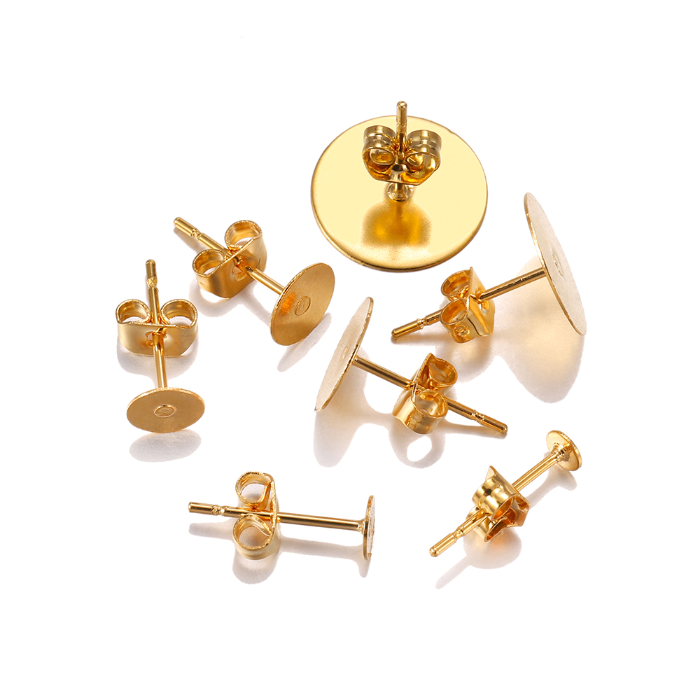 20pcs/lot 3 4 5 6 8 10 12mm Gold Stainless Steel Blank Earring Stud Base With Earring Plug For DIY Jewelry Making Supplies