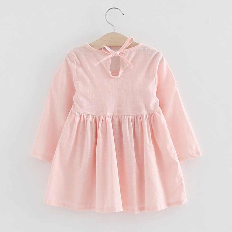 Girls Spring Autumn Cotton Linen Dress Summer Children Dress Long-sleeved Princess Bow Robe Gown Baby Girl Clothes Cute Clothing