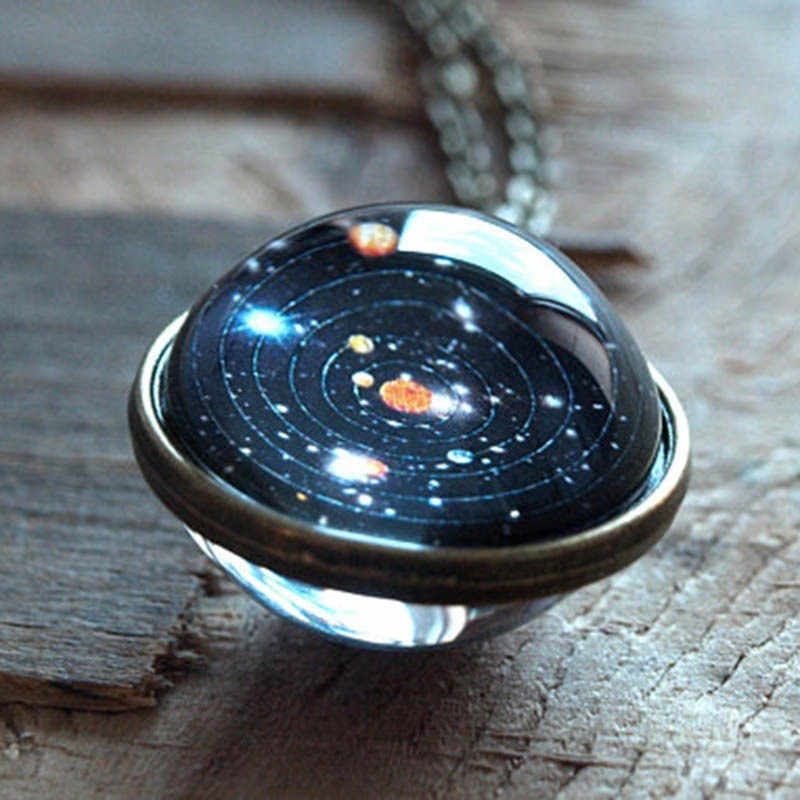 2019 Unisex Glow In The Dark Moon Necklace Galaxy Planet Glass Cabochon Pendant Necklace Vintage Luminous Jewelry Women Gifts