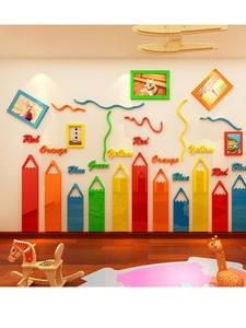 Wall-Stickers Decoration Kindergarten Acrylic Living-Room Cartoon Frame for Kids DIY