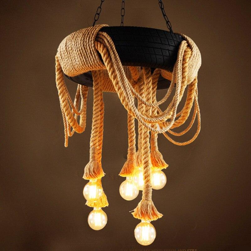 60cm Luz de neumático de coche Retro Industrial Loft LED luz colgante creativo de cuerda de cáñamo de hierro colgante lámpara de iluminación para restaurante bar
