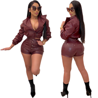 Women Tracksuits Two Pieces Set Long Sleeve Turn Down Collar Top Pockets Short Pants 2 Pieces Set Faux Leather Outfit