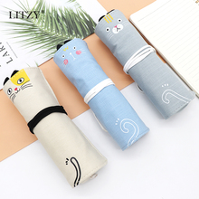 лучшая цена Cat Pencil Case for Girls Boys Canvas School Pencil Case Roll Up Pencil Bag Cute Portable Pencil Box Pen Bag Stationery Pouch