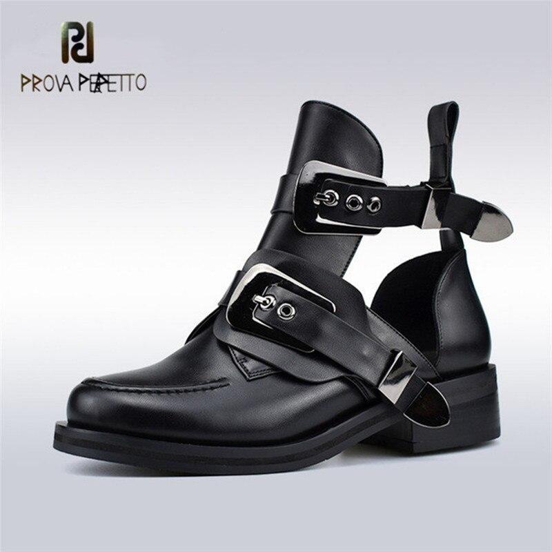 Prova perfetto 2019 Moda Primavera Verão Mulheres Sapatos Tornozelo Saltos Cinta Fivela de Metal Plana Preto Escavar Sapatas Das Mulheres
