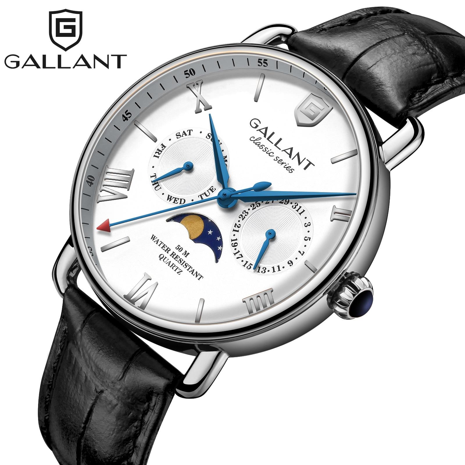 Silver Quartz Watch Moon Phase Watch Waterproof Watch Watches For Men