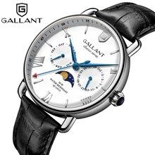 Zegarek męski, zegarki kwarcowe zegarek męski Moon frazy z kalendarzem i skórzanym paskiem wodoodporne zegarki dla mężczyzn luksusowe, srebrne